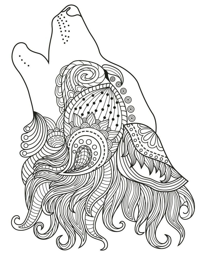 Howling Wolf Coloring Pages For Adults