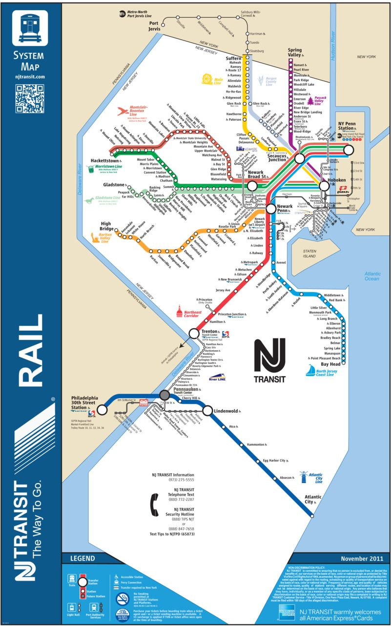 Asbury Park New Jersey Map.Unofficial Map New Jersey Transit Rail System Transit Maps