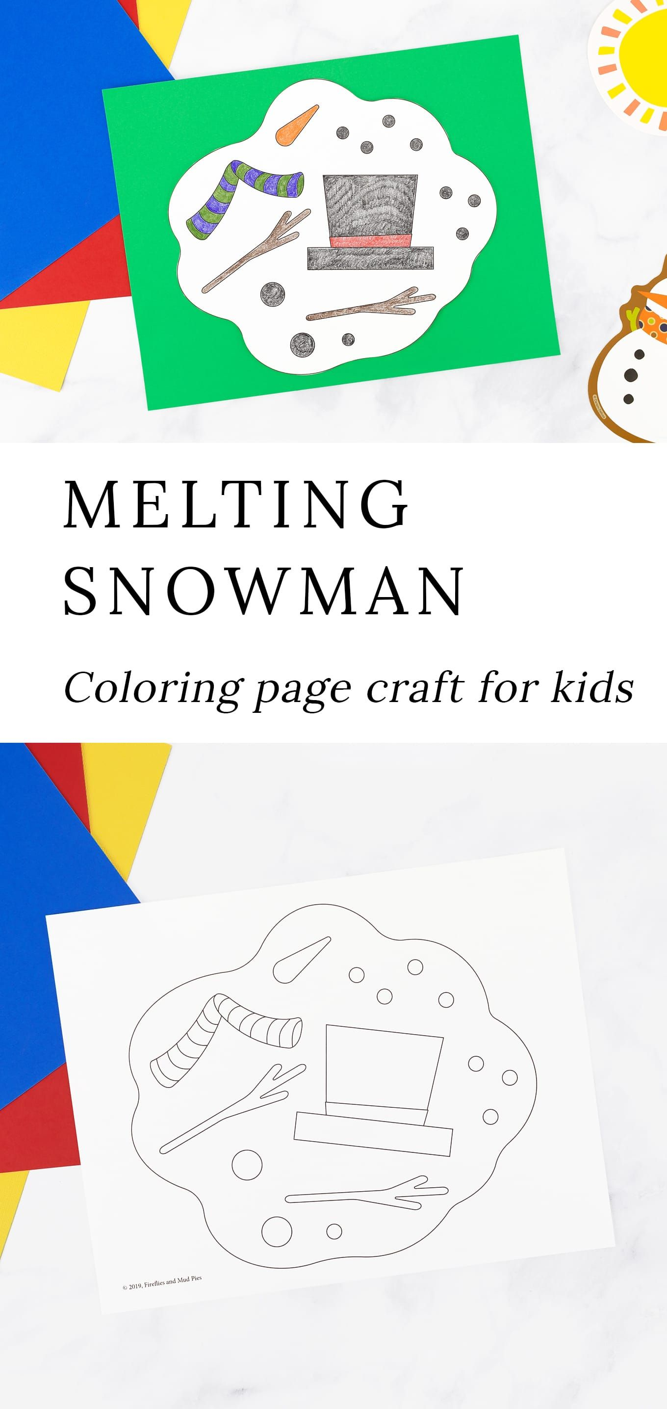 Melting Snowman Coloring Page Snowman Coloring Pages Winter