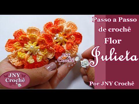 Passo a Passo de crochê Flor Julieta por JNY Crochê - YouTube