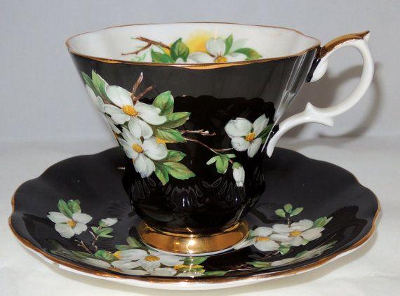 Rare Tapered Dogwood on Black Royal Albert Tea Cup and Saucer Set