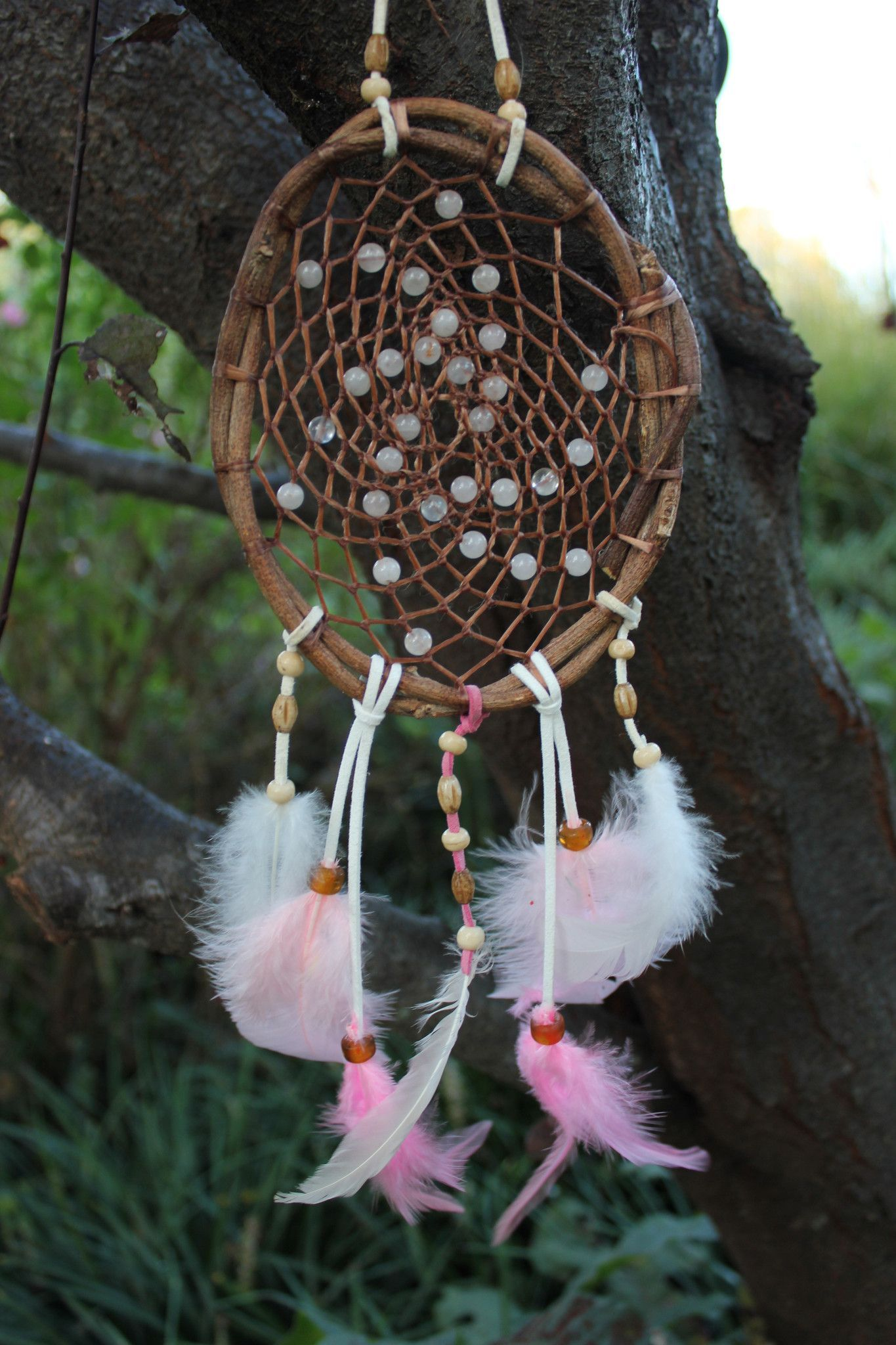 Rose Quartz, Wisteria Vine Dream Catcher, 5 inch, Leather, Sinew, Pink and White Rooster Feathers
