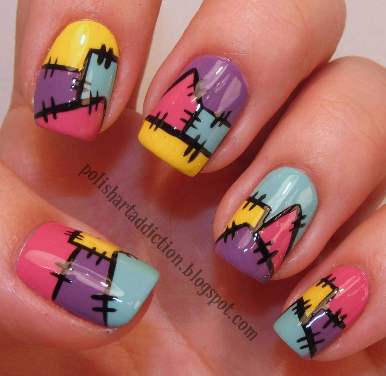 Patchwork nails... Would probably do different colors... OR all ...
