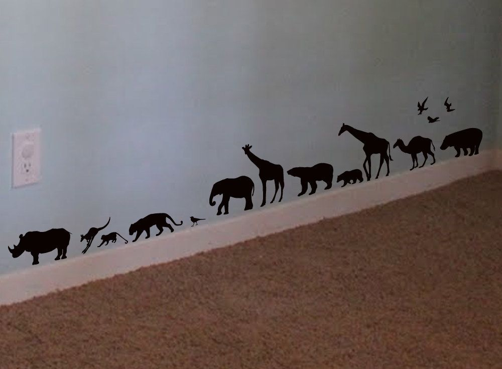 Safari Animals Vinyl Wall Art Decal Sticker USD Via Etsy - Vinyl wall decals animals