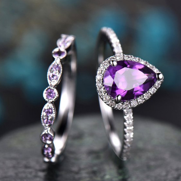 Couple Lady Purple Diamond Ring Ra0450 8 38 Purple Engagement Rings Amethyst Ring Engagement Amethyst Wedding Rings