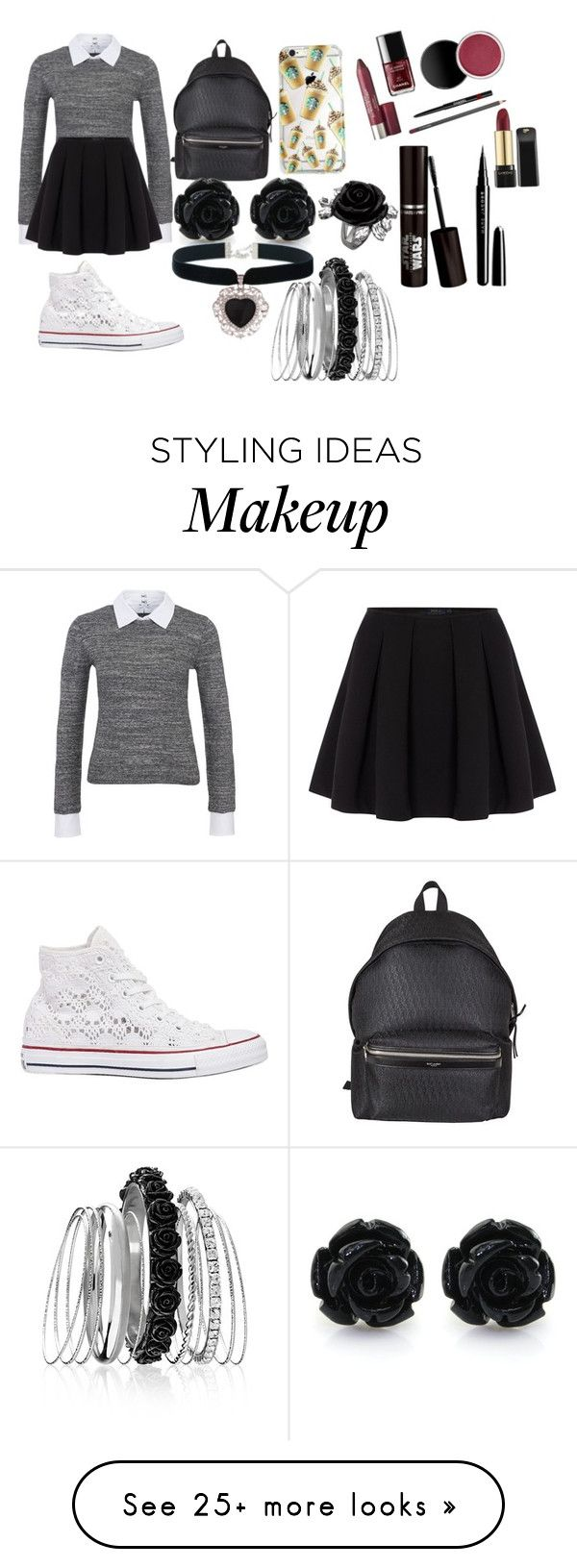 """College day!!!"" by leena-sabagh on Polyvore featuring Steffen Schraut, Polo Ralph Lauren, Converse, Yves Saint Laurent, Rock 'N Rose, Avenue and Marc Jacobs"