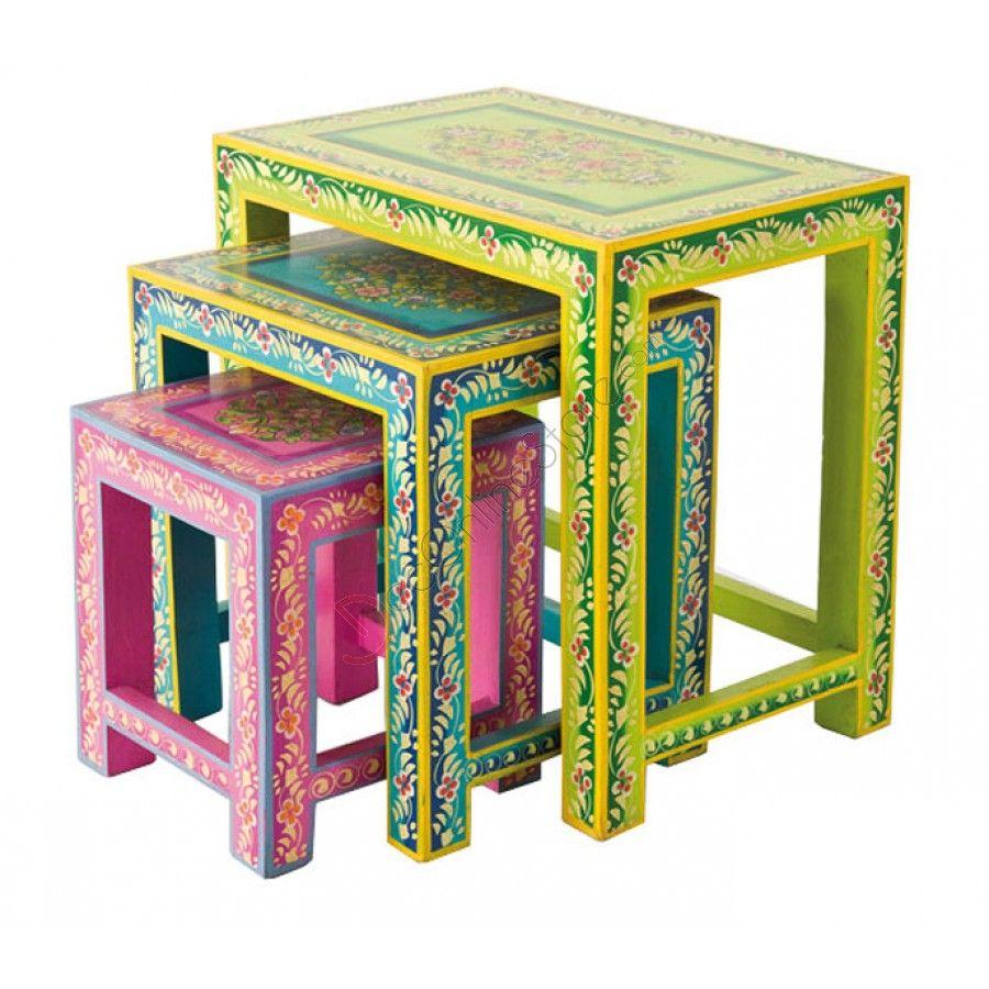 طاولات بأشهر الزخارف الهندية وألوان صيفية من ميداس طاولات زخارف ألوان صيف أثاث تسوق Painted Furniture Designs Colorful Furniture Hand Painted Furniture