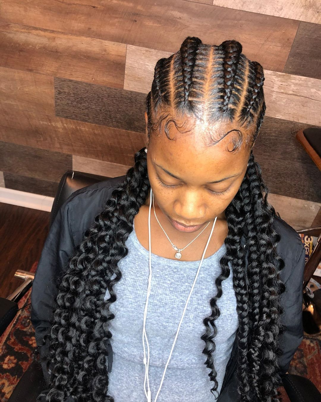 E The Braid Specialist On Instagram 6 Feed In Braids With Boho Ends Booking Now Available Online Hair Styles Feed In Braid Feed In Braids Hairstyles