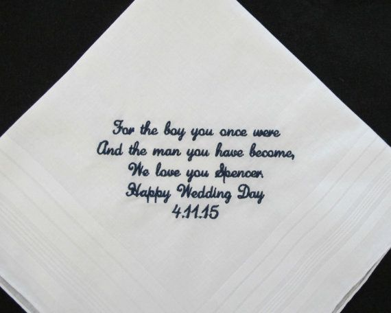 Wedding Gift Ideas For Close Friends: Wedding Handkerchief For The Groom From Mother Of The