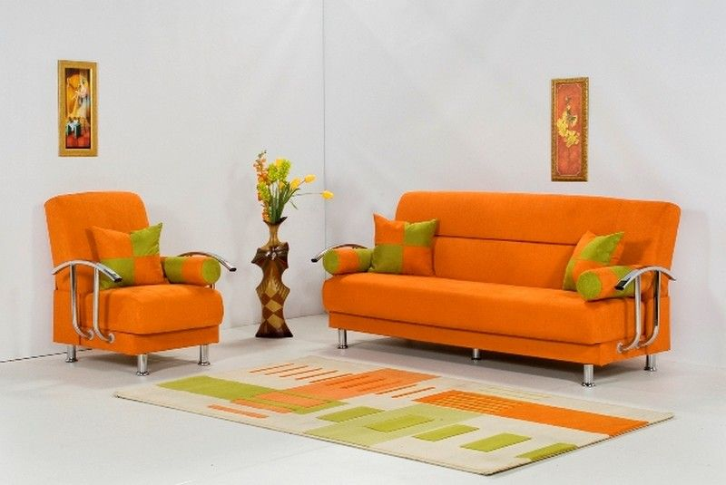 Dark Colored And Large Furniture Help To Enlarge The E Of A Small Living Room For Orange Sofa Try Use Light Color Theme Blank Walls