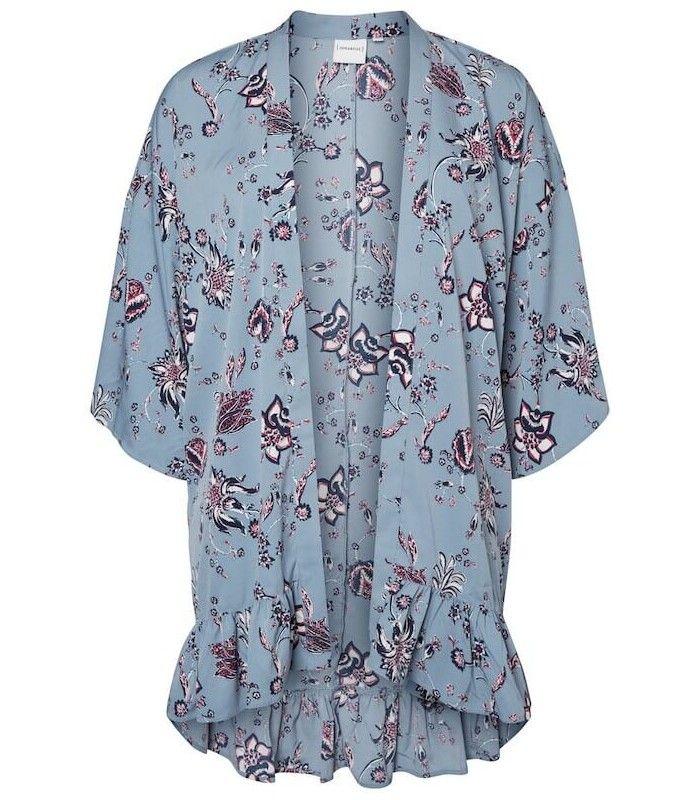 Kimono grande taille Junarose fluide à volant et imprimé femme ronde