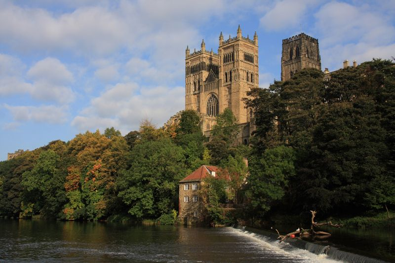 Durham Cathedral, as imposing and strategically sited as a castle, was founded in 1093 as a shrine for the North of Engand's most beloved saint, Cuthbert.   http://www.redspottedhanky.com/trains/trains-to/durham/