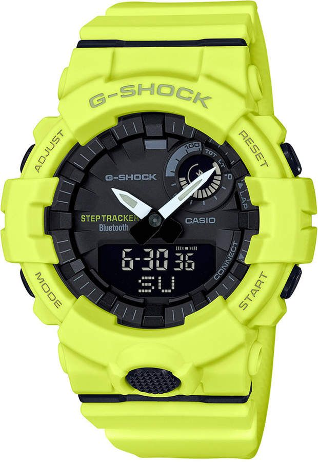 832312efb8e29 G-Shock Men s Analog-Digital Step Tracker Yellow Resin Strap Watch 48.6mm