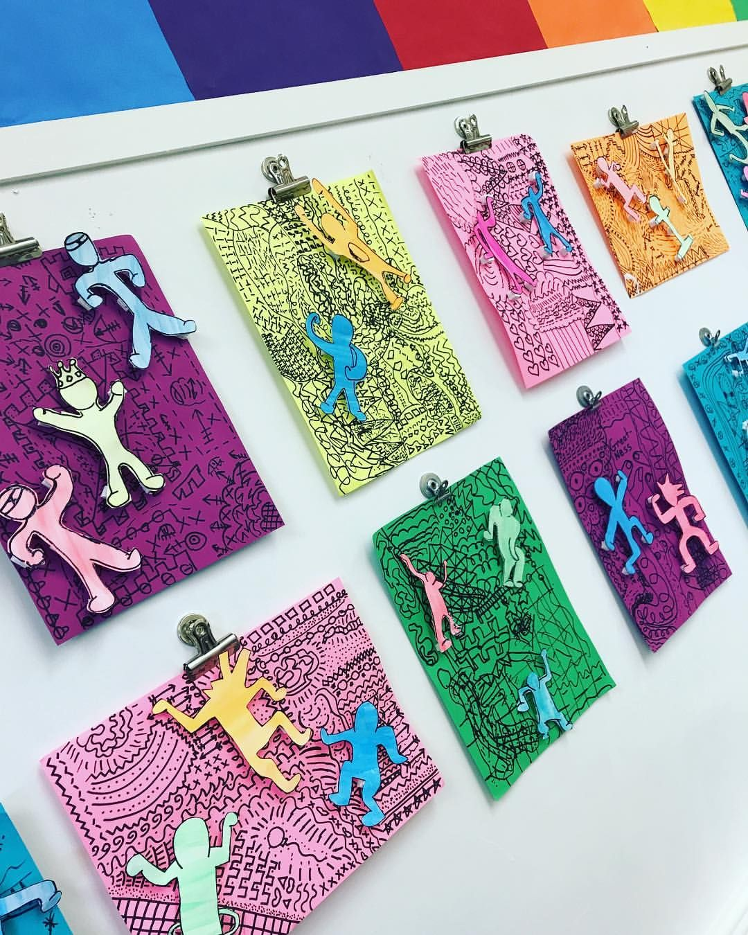 I Finally Hung 5th Grade S Keith Haring Inspired Collages