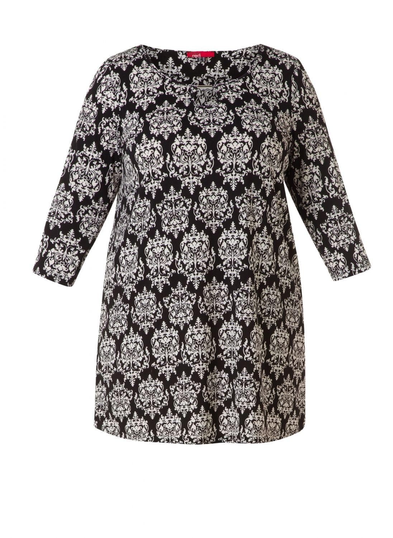 Mega lækre Flot tunika i klassisk sort hvid mønster Red Modetøj til Damer i behageligt materiale