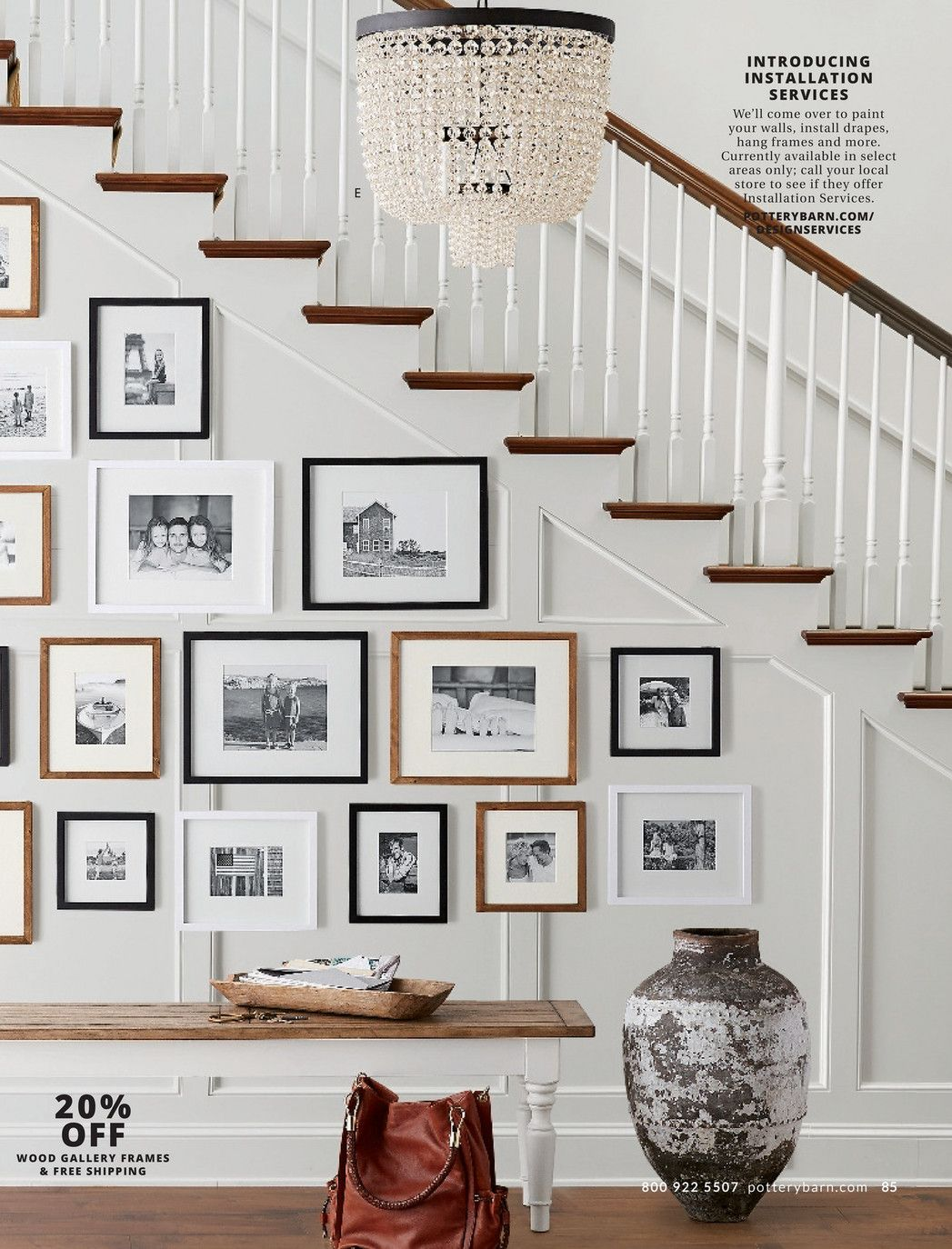 photo wall in entry pottery barn fall catalog page
