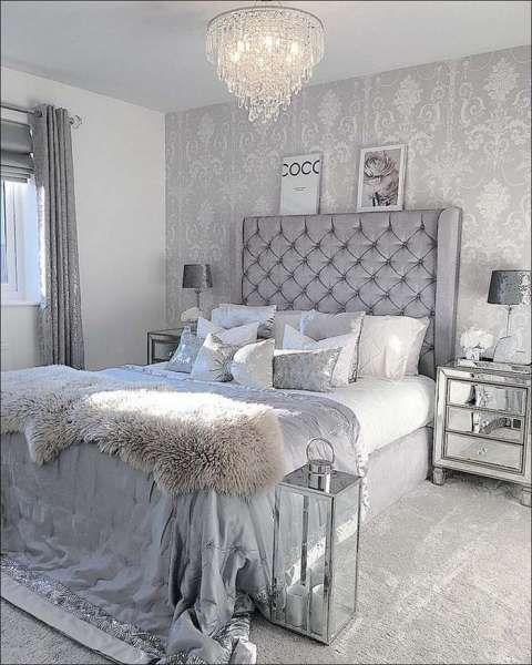 37 Beautiful Silver Bedroom Ideas Cozy Home Decorating Silver Bedroom Bedroom Decor Luxury silver bedroom ideas