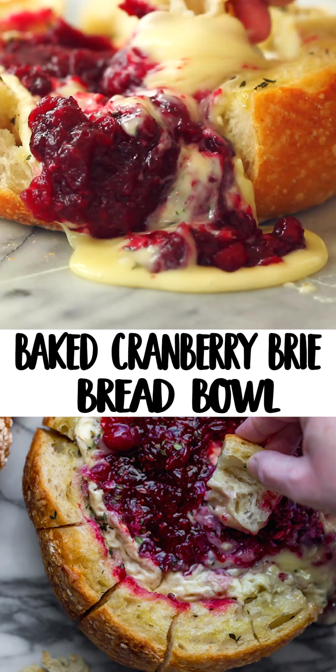 This tear apart Baked Cranberry Brie Bread Bowl is a beautiful holiday party appetizer. Melty brie and sweet tart cranberry sauce are a match made in heaven!