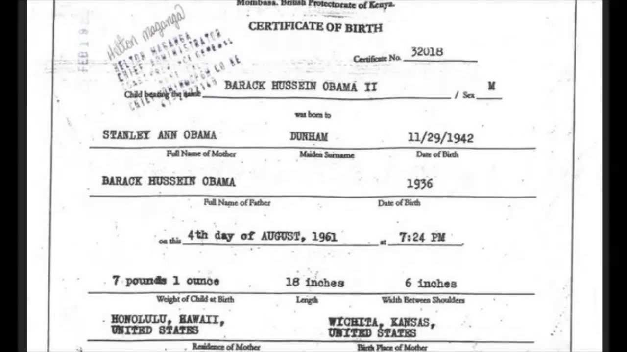 ObamaS Kenyan Birth Certificate Revealed  Places To Visit