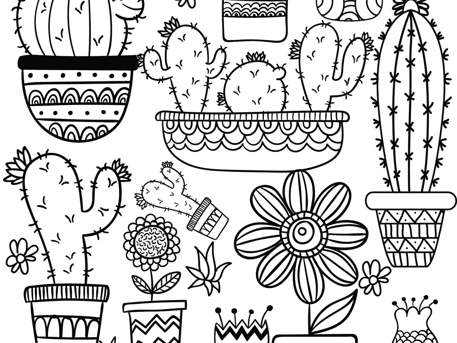 Full Coloring Page New Cactus Coloring Pages Color