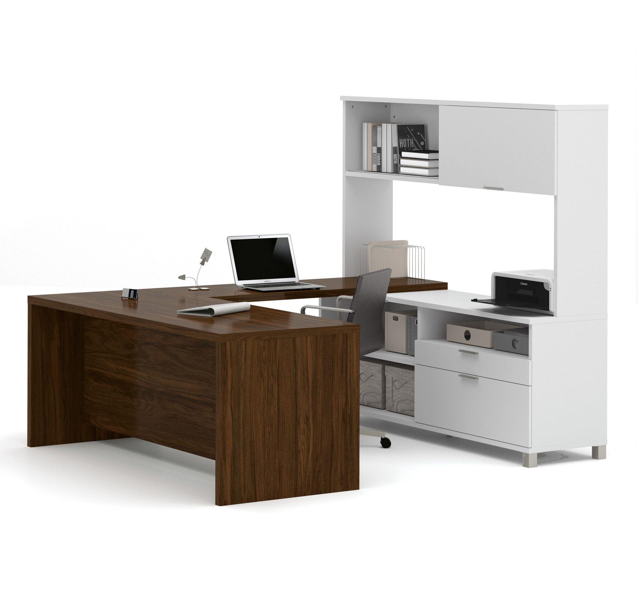 Premium Modern U-shaped Desk with Hutch in White & Oak Barrel ...