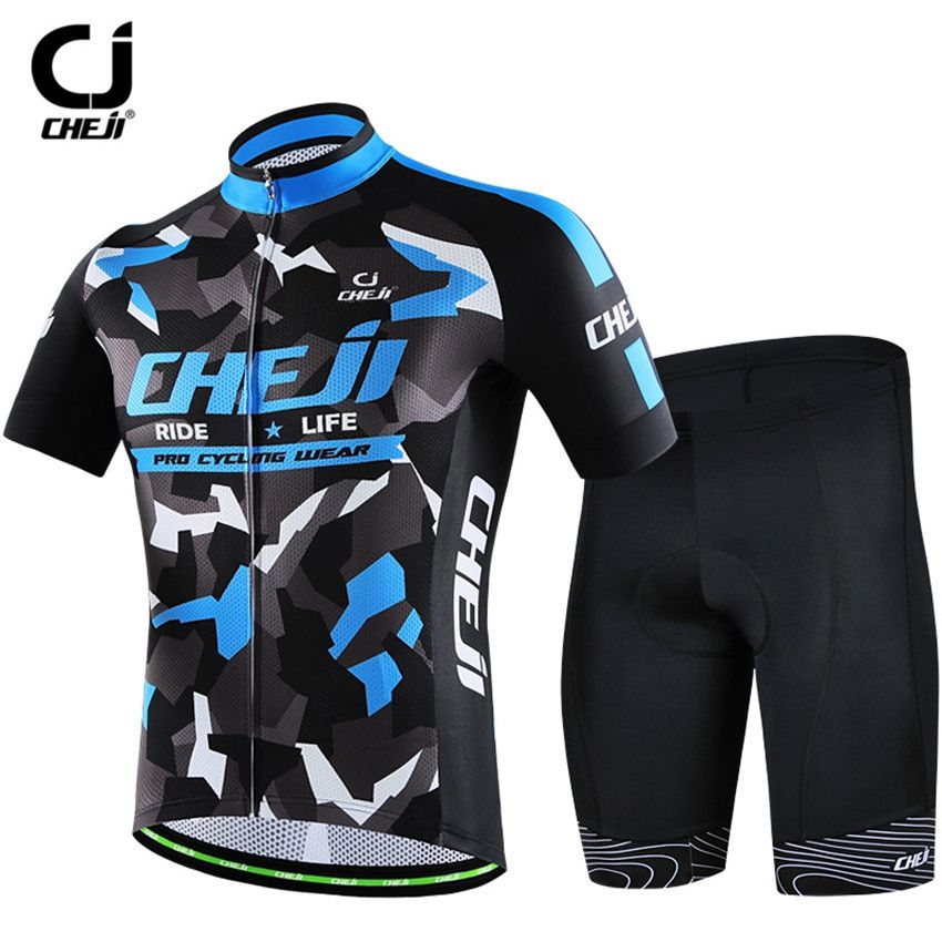 CHEJI Men s Cycling Jersey Set With bib Bicycle Camouflage Cycling Clothing  Bike Roupa Ciclismo Short Sleeve 8a1189981