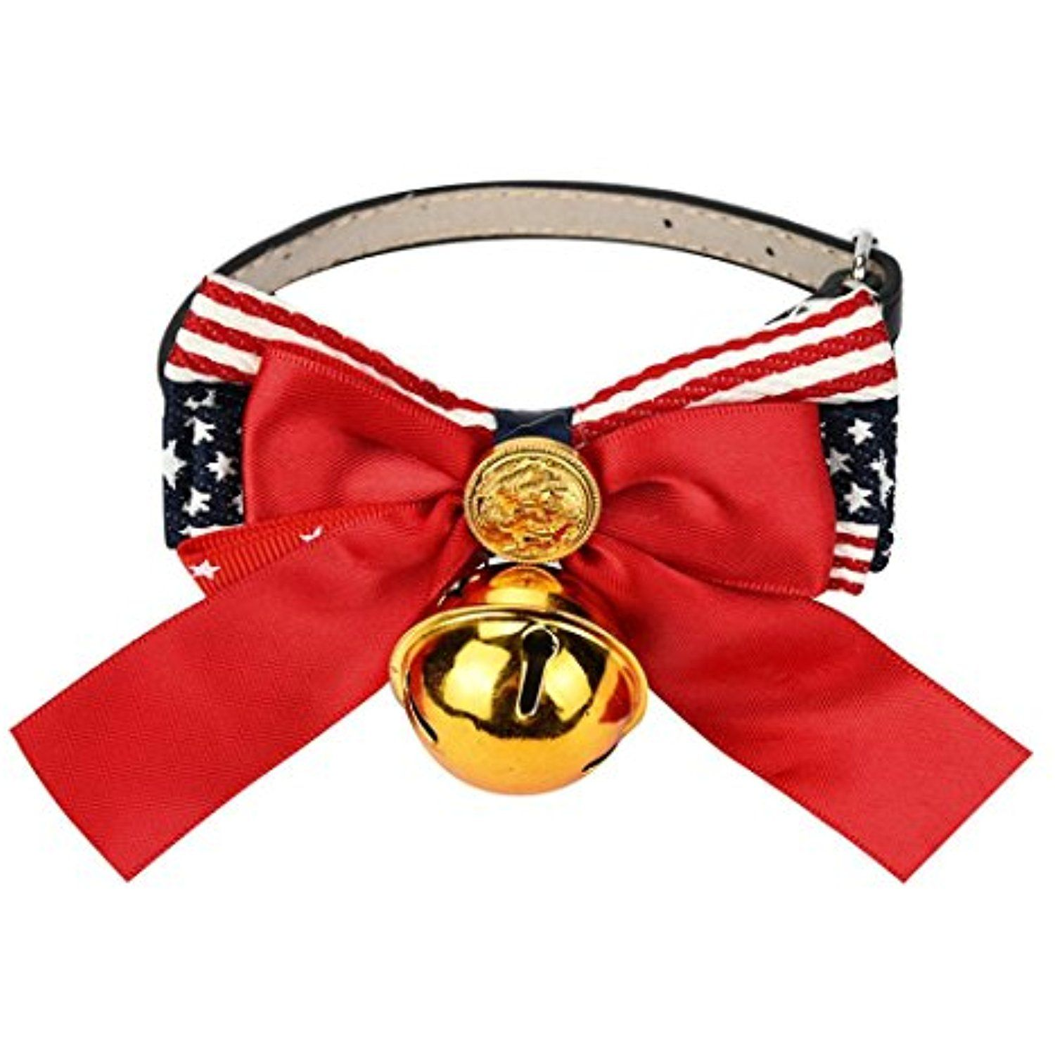 Pulison(TM)Pet Dog Cat Collar Bowknot Bells Faux Leather