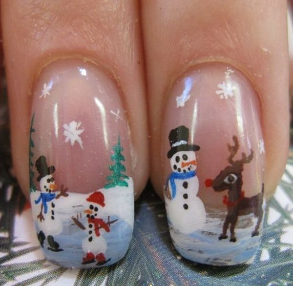 50 Creative Christmas and Winter Nail Art Designs