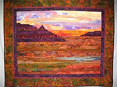 SW Sunset  Strip-pieced landscape #quilt, machine quilted, cotton prints and batiks. By Alice Rudolph