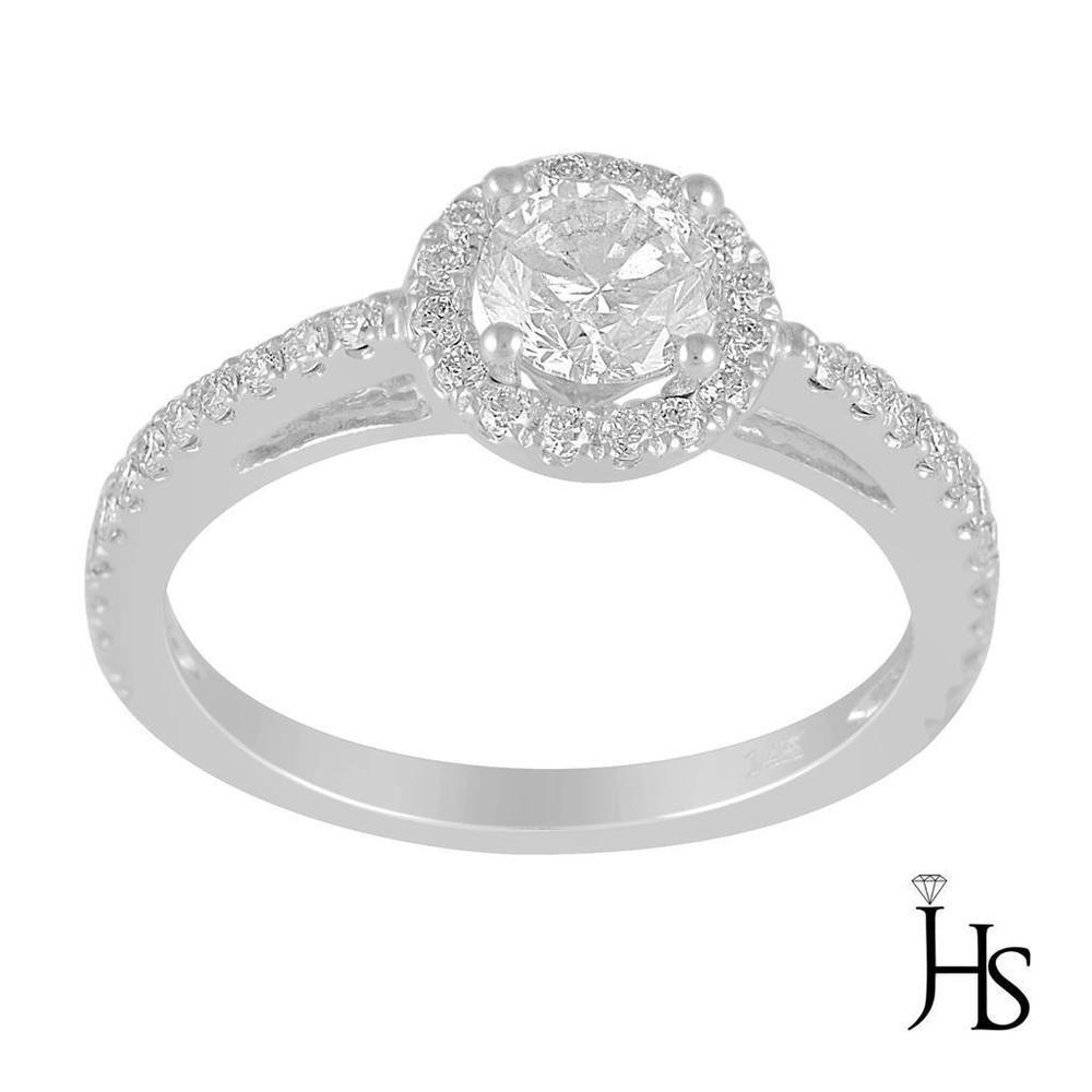 7f006fc7034 14K White Gold 1.07 CT G - H   SI3 Round Diamond Halo Engagement Ring - JHS   WomensFancyEngagementRingJHS