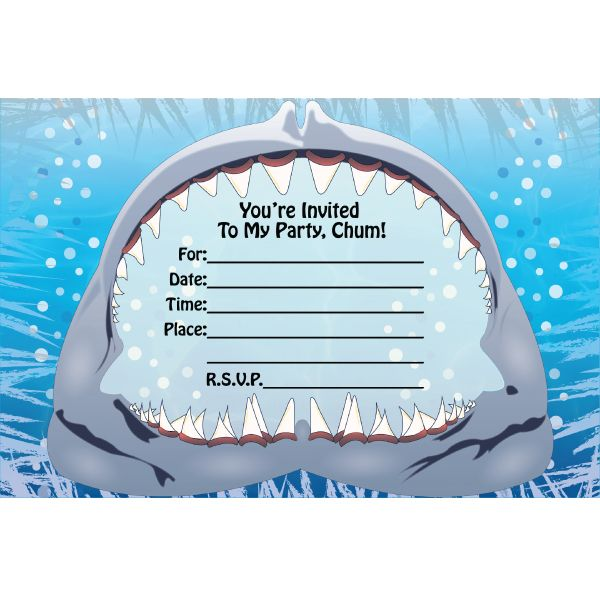 Shark Birthday Invitations 8