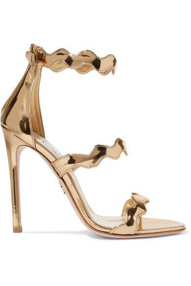 Metallic leather sandals, Heels