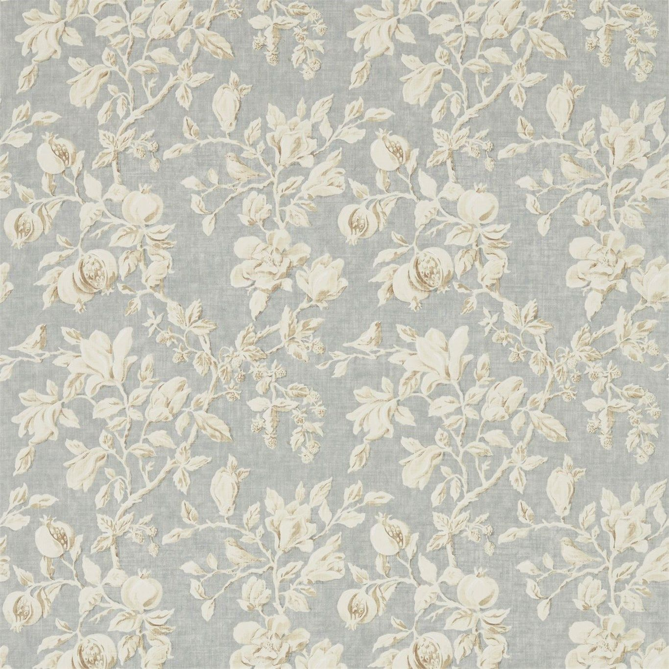 Sanderson Magnolia U0026 Pomegranate 225505 Grey Blue/Parchment Fabric From The  Woodland Walk Collection, Priced Per Metre. A Magnificent, Large Scale, ...