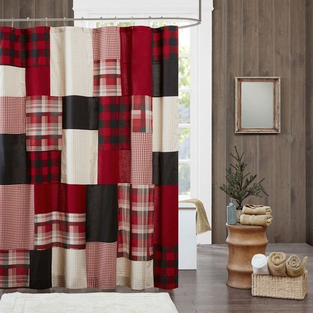 red and tan shower curtain. Luxury Rustic Red Black  Tan Plaid Cotton Fabric Shower Curtain 72 x