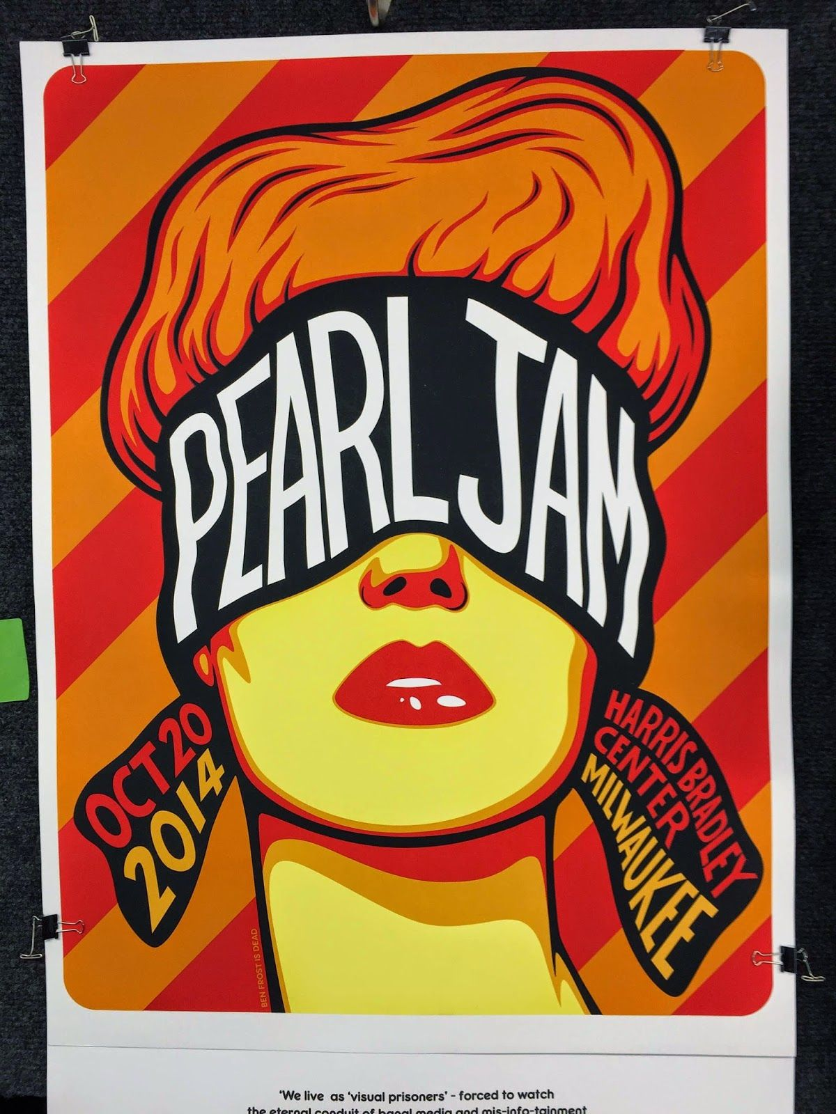 Ben Frost Pearl Jam Milwaukee Poster Artist Edition On ...