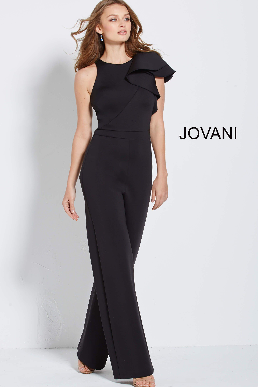 Jovani 57239 White Sleeveless Ruffle Scuba Prom Jumps Prom Jumpsuit Jumpsuit Fashion Pageant Wear [ 2880 x 1920 Pixel ]
