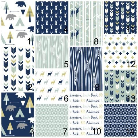 Crib Bedding for Boys in Navy and Gold - Deer and Bears