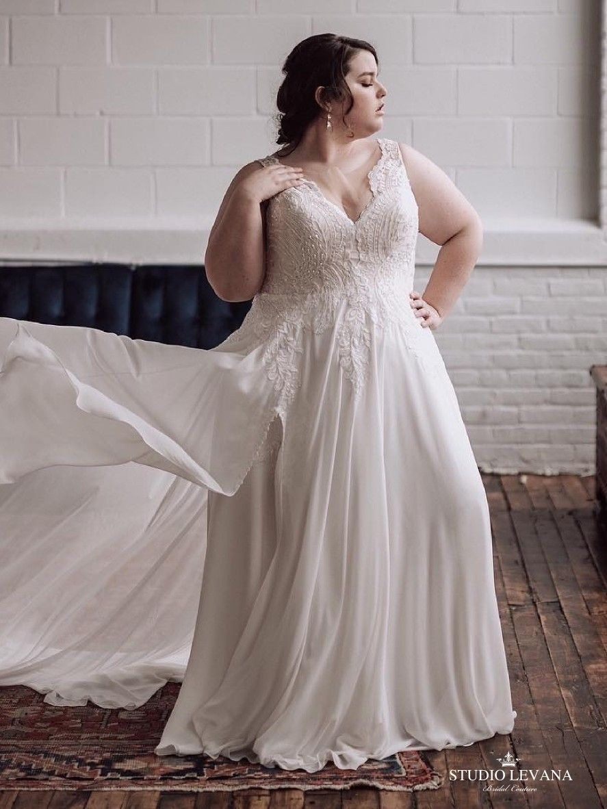 Stunning plus size corset wedding gown with unique lace chloe