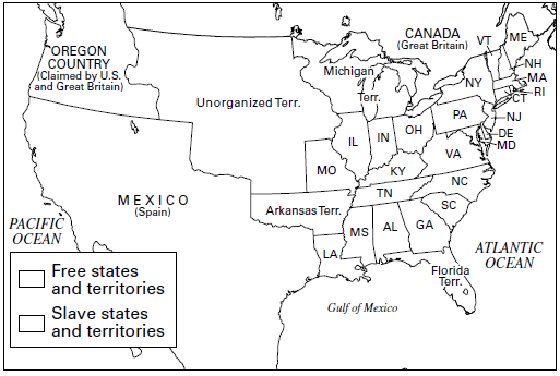 Map illustrating the Missouri Compromise of 1820 Under terms