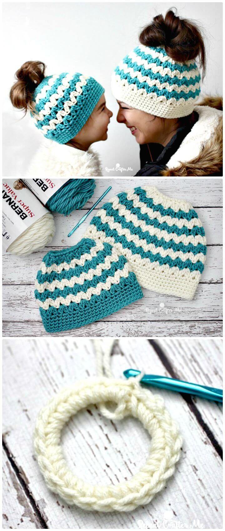 20 Free Crochet Messy Bun Hat Patterns #messybunhat