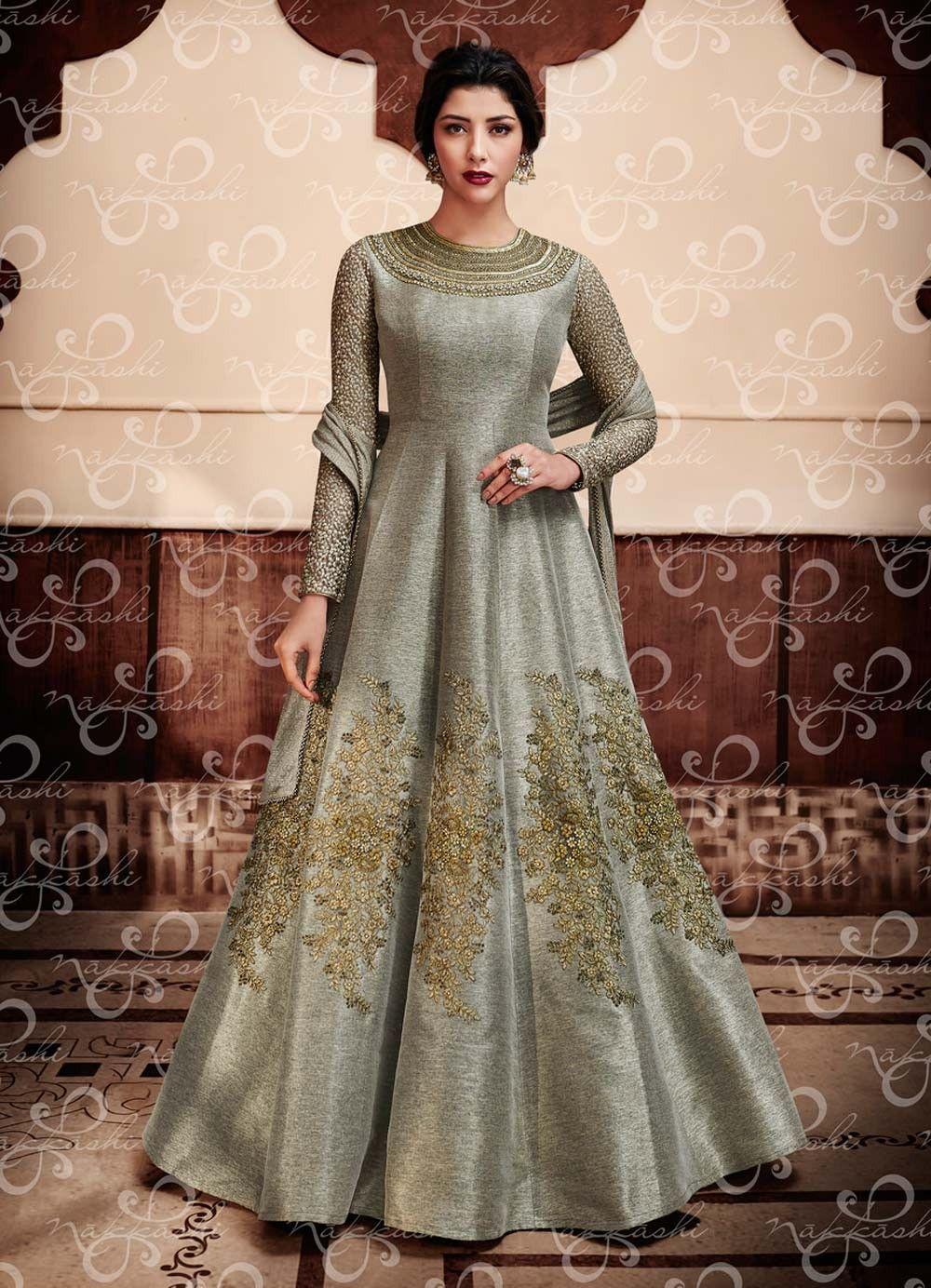 5ef42b6c18 Grey abaya style Pakistani nikah wear anarkali suiit in jute silk D17062