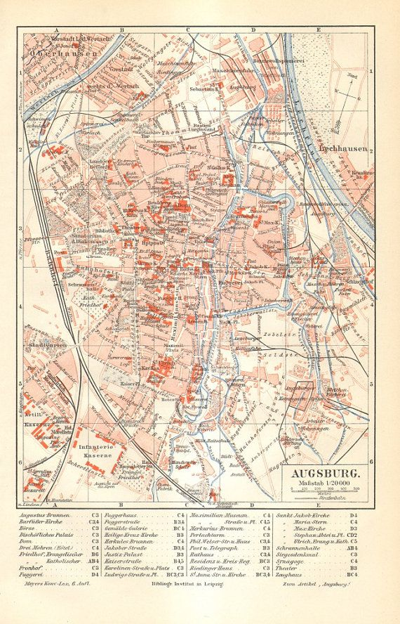 1902 Original Antique City Map of Augsburg in Bavaria Germany