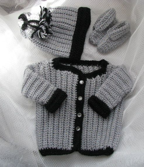 a198d8f58405 Baby sweater set crochet baby sweater baby boy sweater grey baby ...