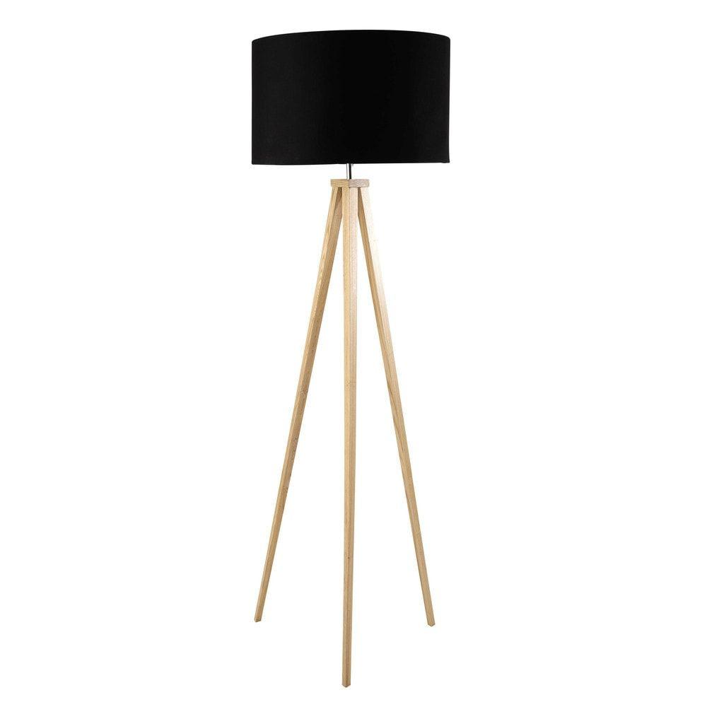 Dreibeinige Stehlampe Aus Eschenholz Und Schwarzer Baumwolle H156
