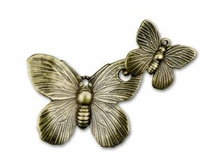 This is a clasp! What a clever idea. Antique Brass Butterfly Hook & Eye Clasp.