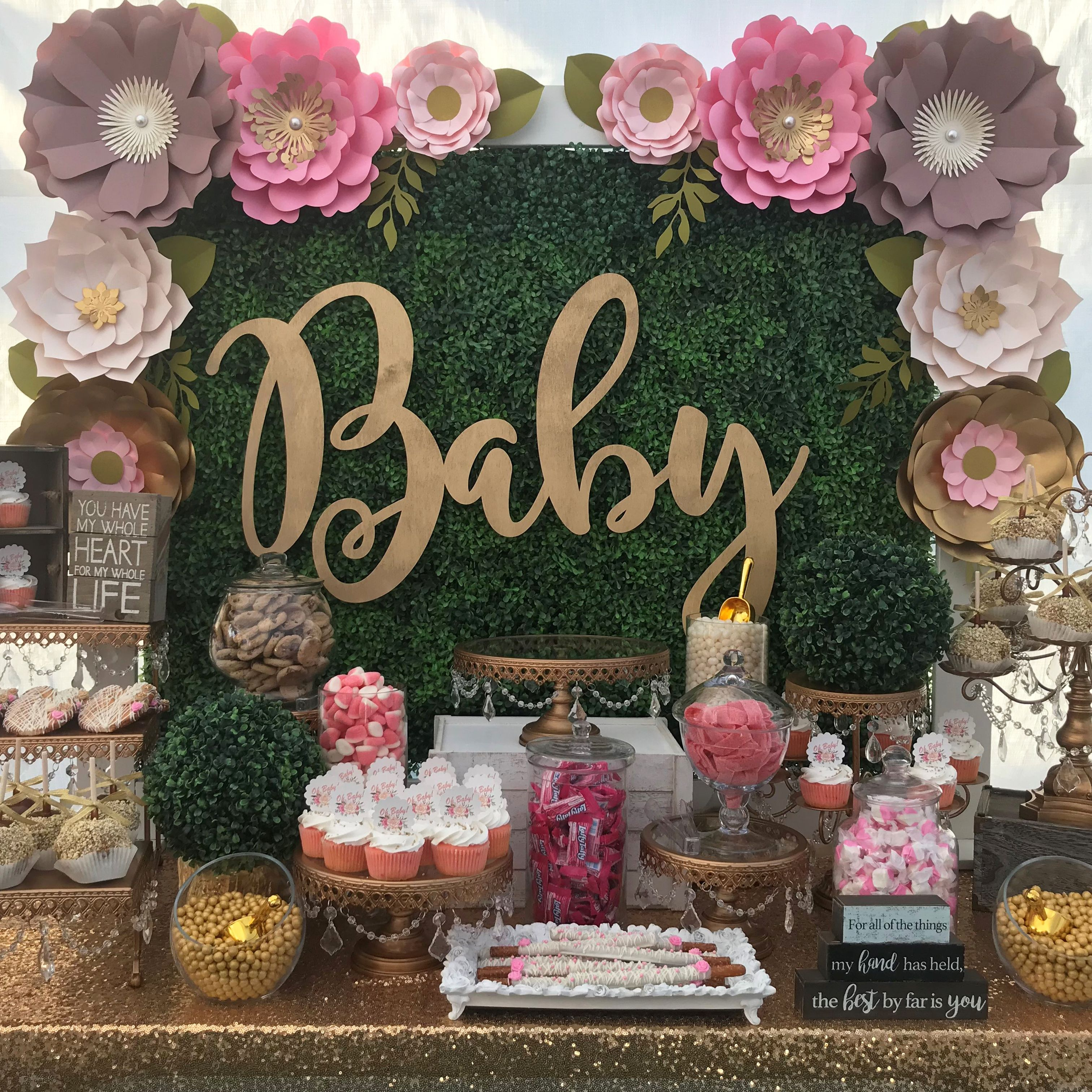 Oh Baby Loving The Paper Flower Backdrop Created By Petals N More For This Baby Shower Dessert Baby Shower Candy Table Baby Shower Dessert Table Dessert Table