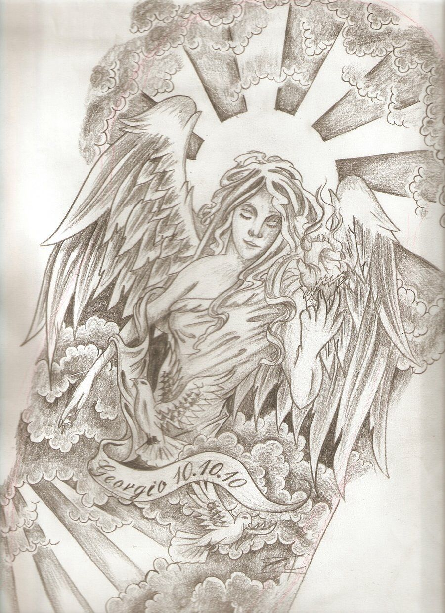 Potential Angel Tattoo For Half Sleeve