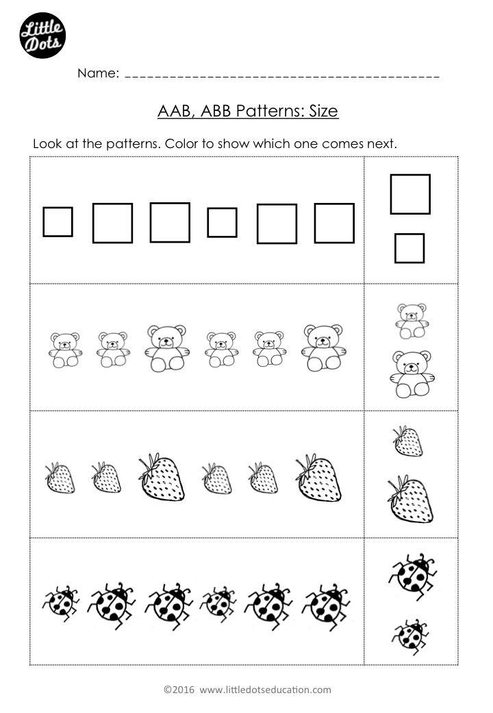 free aab and abb patterns worksheet for kindergarten level. Black Bedroom Furniture Sets. Home Design Ideas