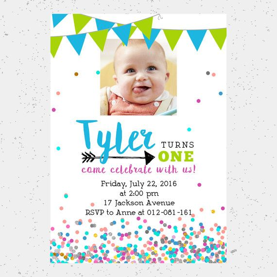 1st Birthday Party Invitation Baby Turns One Digital E Invite Printable