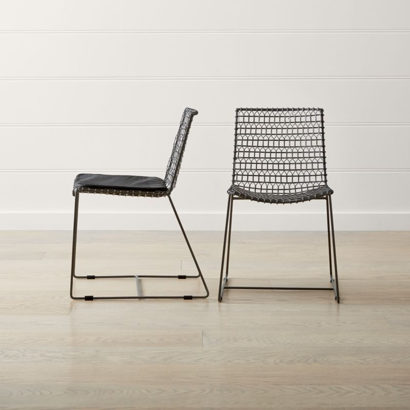 Tig Metal Dining Chair Crate And Barrel In 2020 Dining Chairs Metal Dining Chairs Woven Dining Chairs